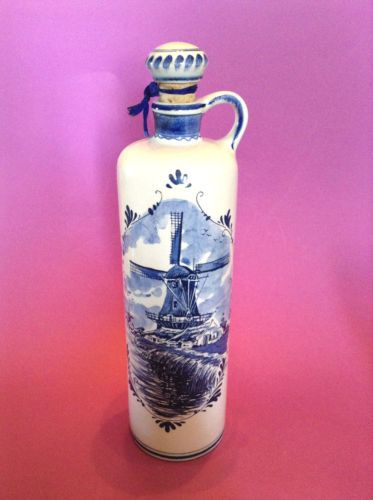 Delft-Blue-BOLS-Hand-Painted-Blue-And-White-Windmill-Bottle-With-Cork-Stopper