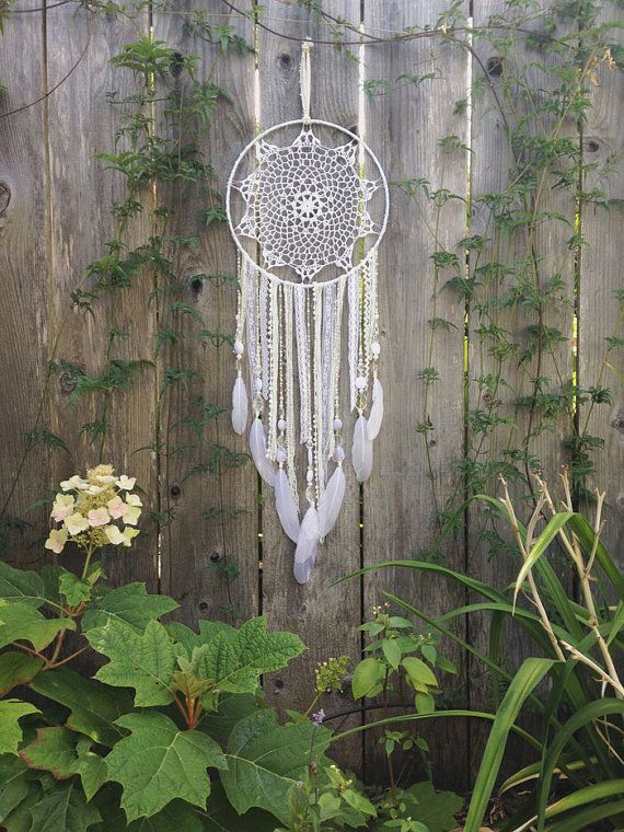 White Doily Dreamcatcher - add shorter feathers, no rick-rac,different beads - round doily...