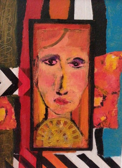 """Lynne Mettam Eleanor Rigby Mixed Media/ oil on Canvas Framed $65  A small oil framed of the woman """"who waits by the door, wearing the mask that she keeps in a jar"""" – a well-known rather strange Beatles song. Eleanor Rigby may have been a person. If she was, this is my impression of her."""