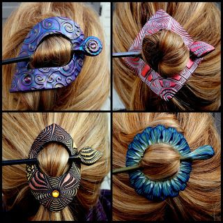 hair or scarf pins.  Looks like very intricate polymer clay