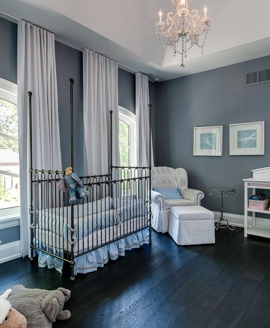 luxurious nursery in dark grey