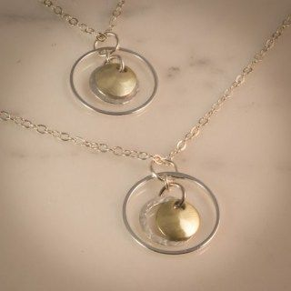 "Hammered silver and gold floating disc 18"" necklace 991964NSPG"
