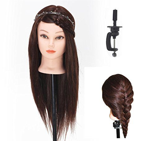 """BEAUTY STAR® Professional 20"""" 40% Real Hair Hairdressing Equipment Styling Head Doll Mannequin Training Head Tools Braiding Cutting Student Practice Model with Clamp - http://thisissnews.com/beauty-star-professional-20-40-real-hair-hairdressing-equipment-styling-head-doll-mannequin-training-head-tools-braiding-cutting-student-practice-model-with-clamp-3/"""