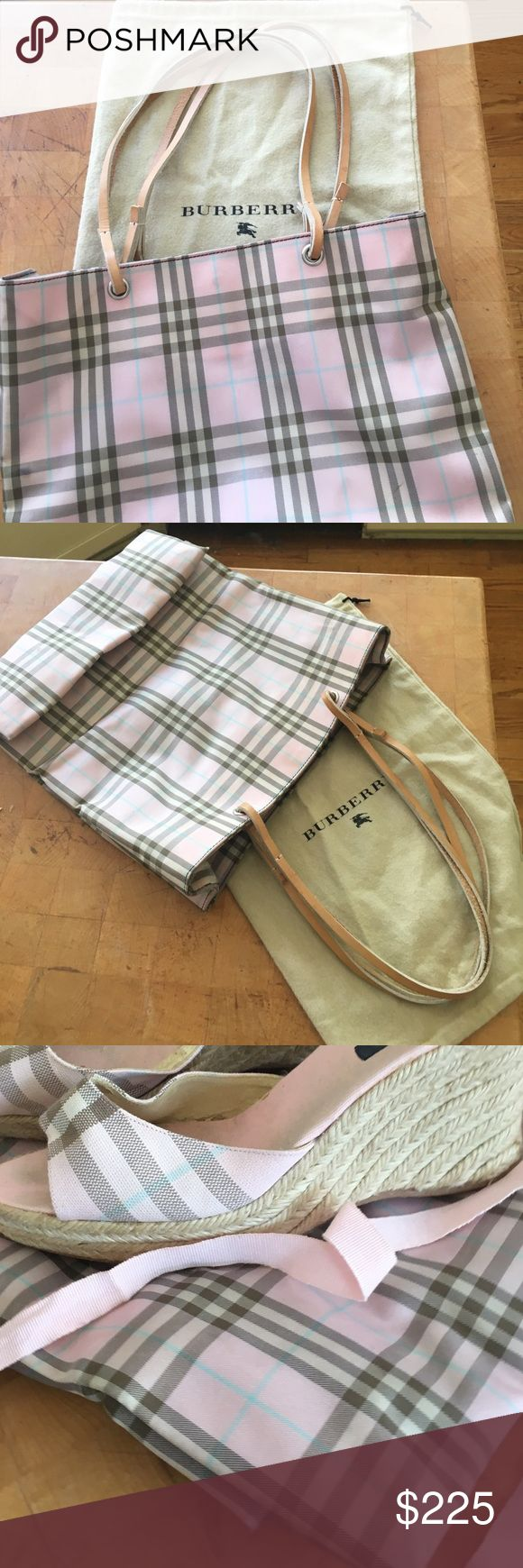 "BURBERRY PinkNovacheck Canvas ToteWTan Lthr Handle Super Cute, perfect size for everyday! It's in GREAT shape, no rips, it COULD use a cleaning if you'd like, I didn't have time, sorry, it's ABSOLUTELY useable ""as is"" and didn't bother me one bit! I also have my matching Sandals  that are pictured Posted in my closet so check em out. I always wore them TOGETHER and they're just SO cute and feminine not to mention Classy and Uber STYLISH!!! 😍👜👡 Burberry Bags Totes"