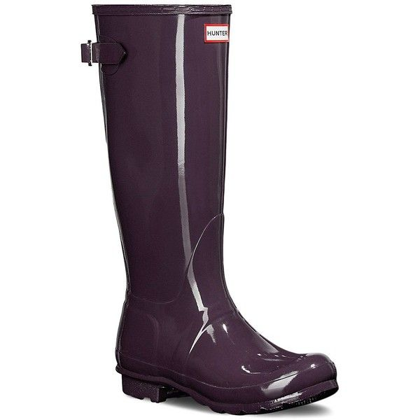 Hunter Original Back-Adjustable Gloss Rain Boots ($160) ❤ liked on Polyvore featuring shoes, boots, purple, purple shoes, rubber shoes, wellington boots, purple rain boots and hunter boots
