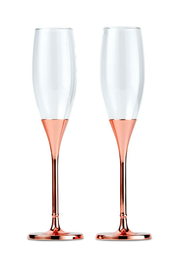 These Sleek And Modern Rose Gold Champagne Flutes Will Help You Make A Toast In Style With T Gold Champagne Flutes Wedding Toasting Glasses Wine Theme Wedding