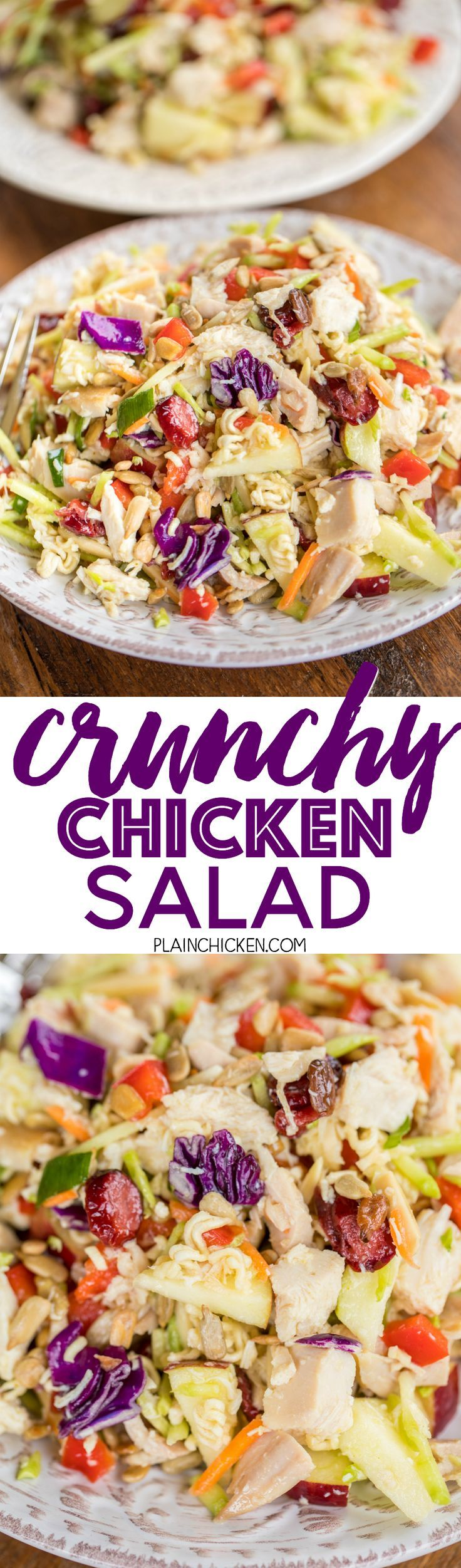 Crunchy Chicken Salad - seriously the best chicken salad EVER! SO different, but crazy good! Chicken, broccoli slaw, red apple, sunflower kernels, dried cranberries, green onions, red bell pepper, slivered almonds, ramen noodles, tossed in vegetable oil,