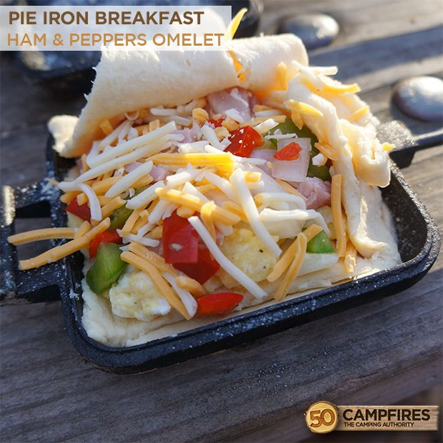 Pie Iron Breakfast: Ham Omelet - the perfect campfire breakfast! #camping #pieiron