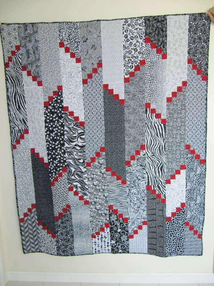 2010 Black, white and red wedding quilt using