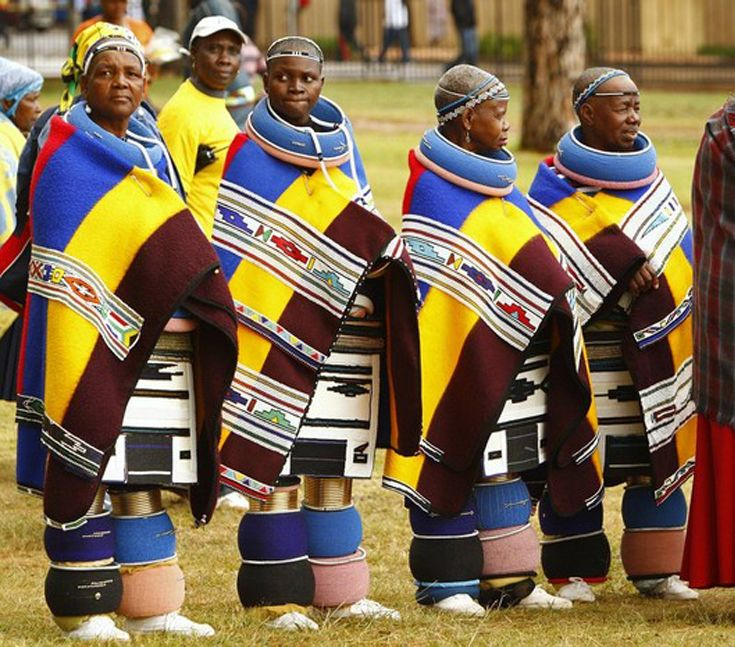 African Baskets: Ndebele Women In Traditional Attire Attend The