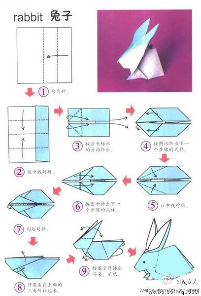 diagramme origami lapin