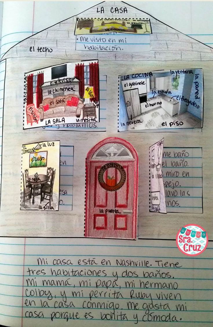 La Casa Spanish Interactive Notebook Activity 50% OFF for 24 Hours ~ Students label the rooms and furniture, write sentences behind the flaps describing what happens in each room, draw their family behind the door, and write a paragraph describing their house.