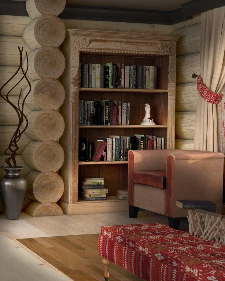 Rustic, Traditional Chalet Decor - Spectacular Bookshelves - Lovely Corner