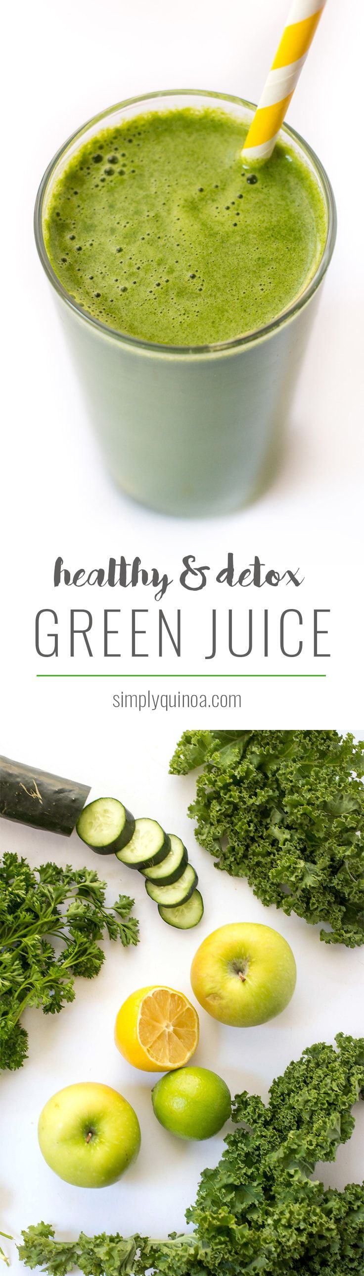 Healthy & Detoxifying Green Juice -- made with kale, romaine, lemon, apple and ginger!
