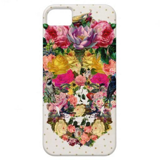 ピンクの少女っぽいヴィンテージのスカルの鳥の花の水玉模様 iPhone 5 カバー