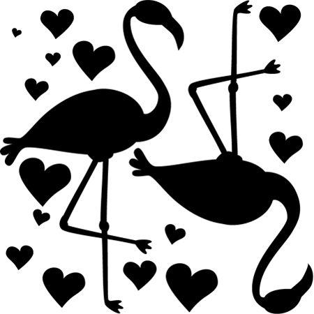 Stickers - DESIGN BY Charlotte - Stickers Amour de Flamant Rose Mono /  Flamants roses et coeurs