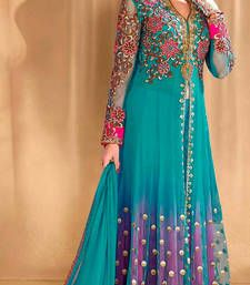 Buy Blue net embroidered semi stitiched salwar with dupatta party-wear-salwar-kameez online
