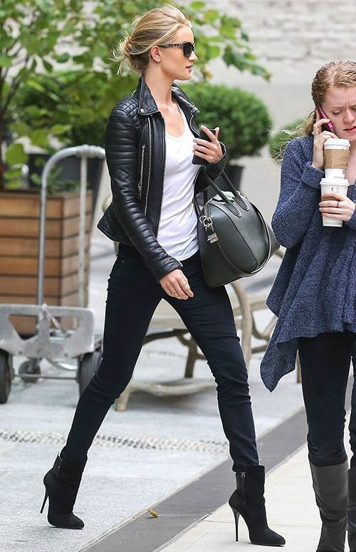 Leather jacket and high heeled boots worn nicely by Rosie Huntington-Whiteley. :)