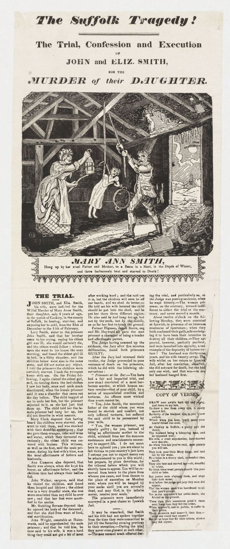 The trial, confession and execution of John and Eliz. Smith, for the murder of their daughter Mary Ann Smith (1812)