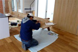 パラレルテーブル 空間に合わせてデザインした全長3mのダイニングテーブル 制作風景