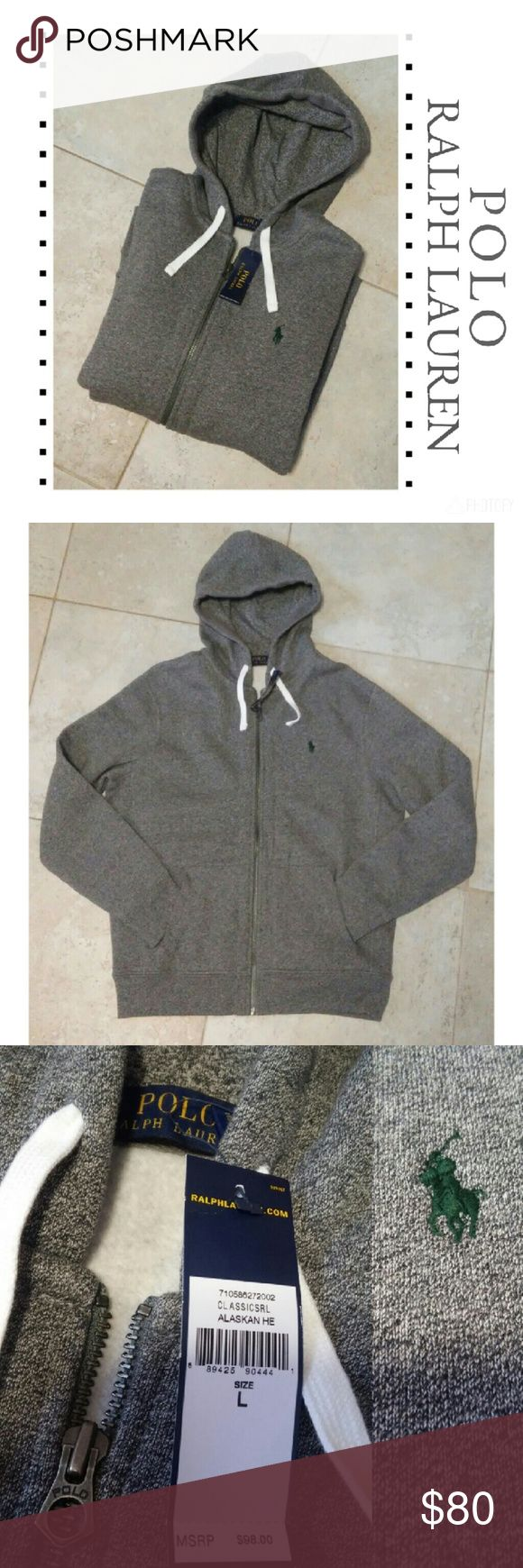 {Polo Ralph Lauren} Alaskan Heather grey zip up New with tags! Polo Ralph Lauren Alaskan Heather grey  Hunter green logo Full zip up with hood & drawstring Size large  MSRP $98 Polo by Ralph Lauren Shirts Sweatshirts & Hoodies