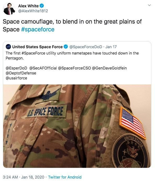 The U S Space Force Revealed Their Uniforms And The Internet Is Roasting Them With Memes In 2020 News Memes Free Stuff By Mail Funny Memes