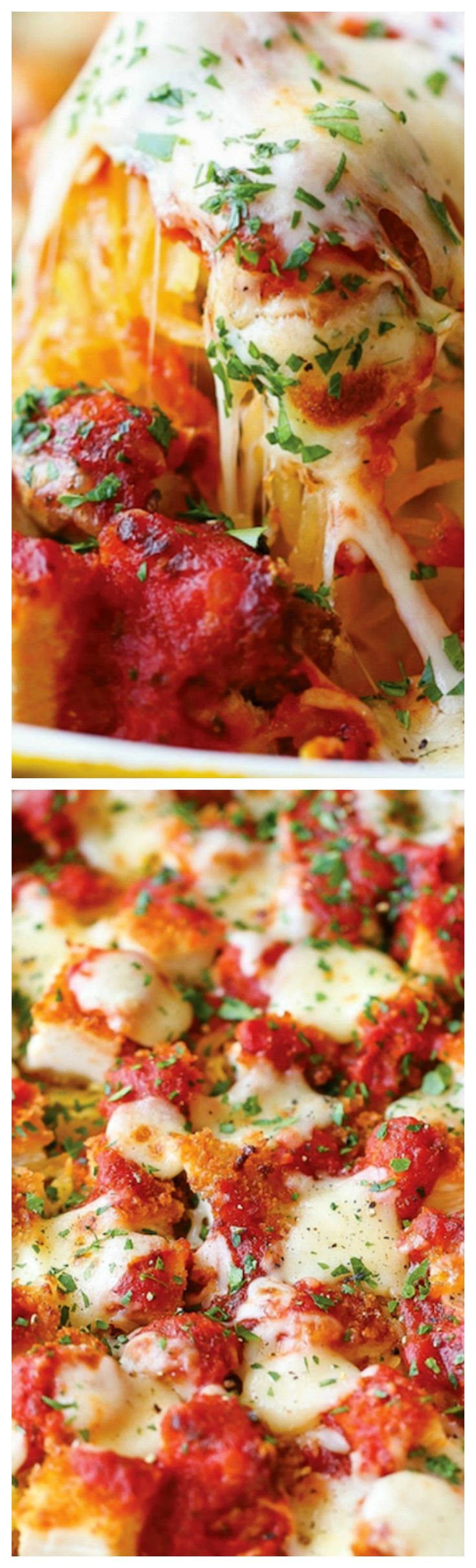 Spaghetti Squash Chicken Parmesan ~ An amazingly healthier version of everyone's favorite chicken parm without compromising taste... The best comfort food!