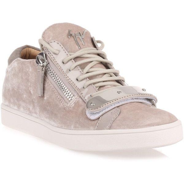 Grey Velvet Sneaker (11.205 ARS) ❤ liked on Polyvore featuring shoes, sneakers, grey, velvet shoes, giuseppe zanotti trainers, giuseppe zanotti, grey sneakers and zip shoes