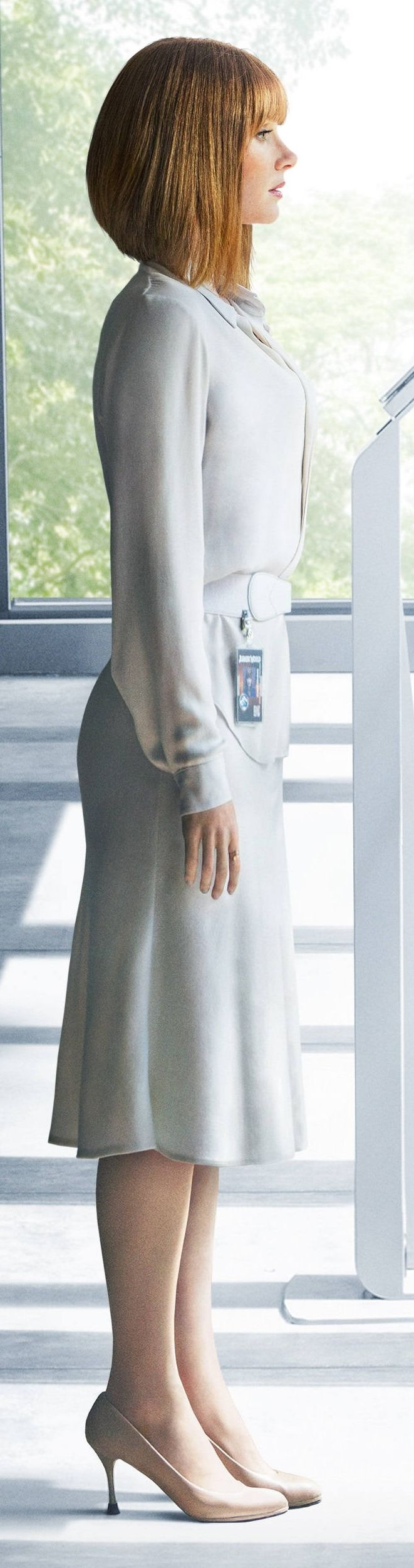 Claire Dearing (Bryce Dallas Howard) standing in the observation room at the Indominus Rex's cage.