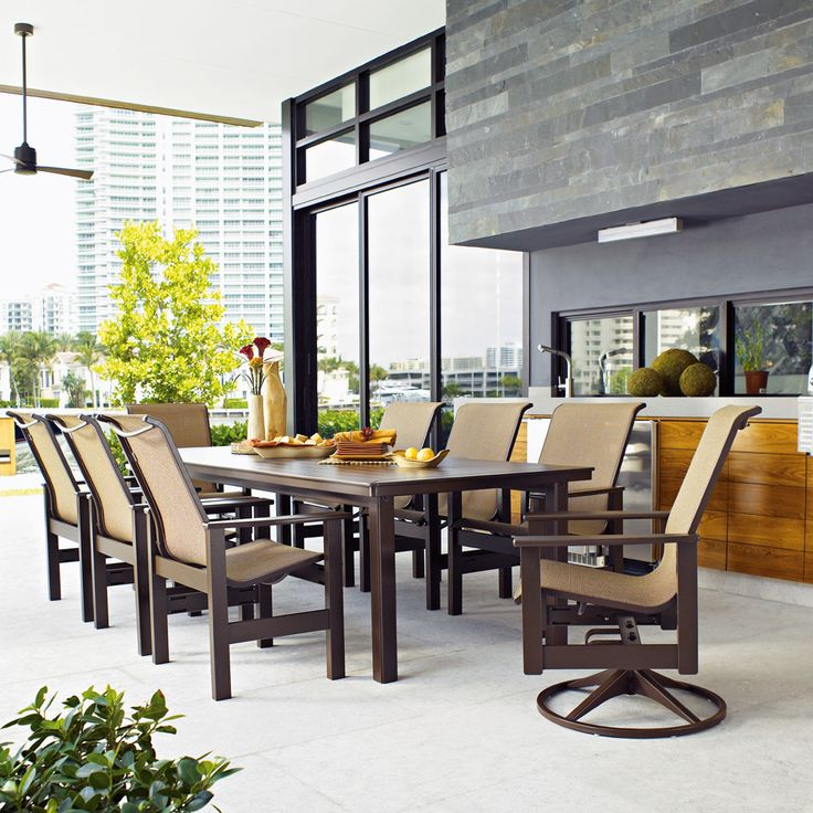 Big Modern Outdoor Dining Set Features Innovative Marine Grade Polymer  Making It A Great Option For