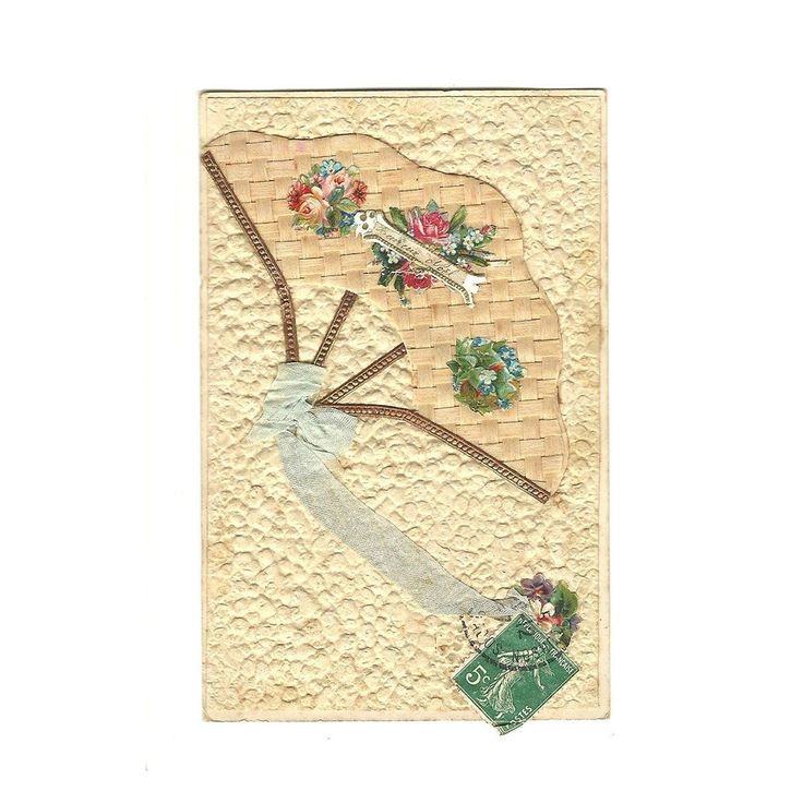 French Antique lllustrated Collage Postcard, Merry Christmas Happy Holidays Noel Flower Fan Lace Ribbon Decoupage Illustration, Scrapbooking