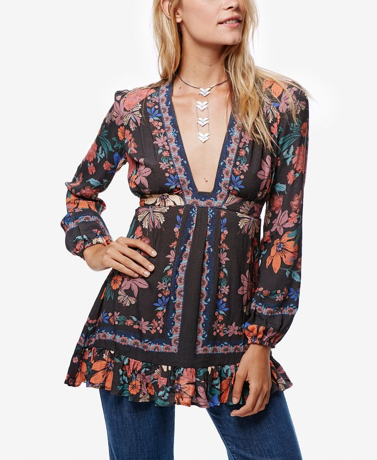 Free People Violet Hill Plunging Ruffle-Detail Top - Tops - Women - Macy's