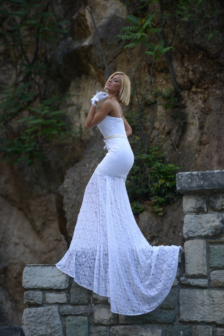 Lace Wedding dress, embroidered with pearls, mermaid, sweetheart neck by 6wEvent on Etsy