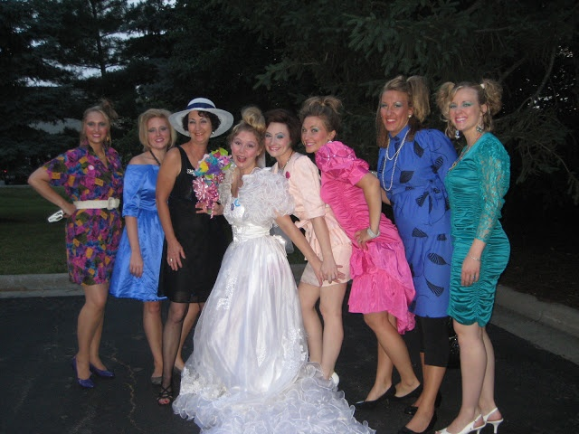 Ugly Dress themed Bachelorette Party - best idea ever. Go to the thrift store and rock out some crazy dresses. Get a terrible 80s wedding dress for the bride. And don't forget to load on the makeup and crimp your hair!