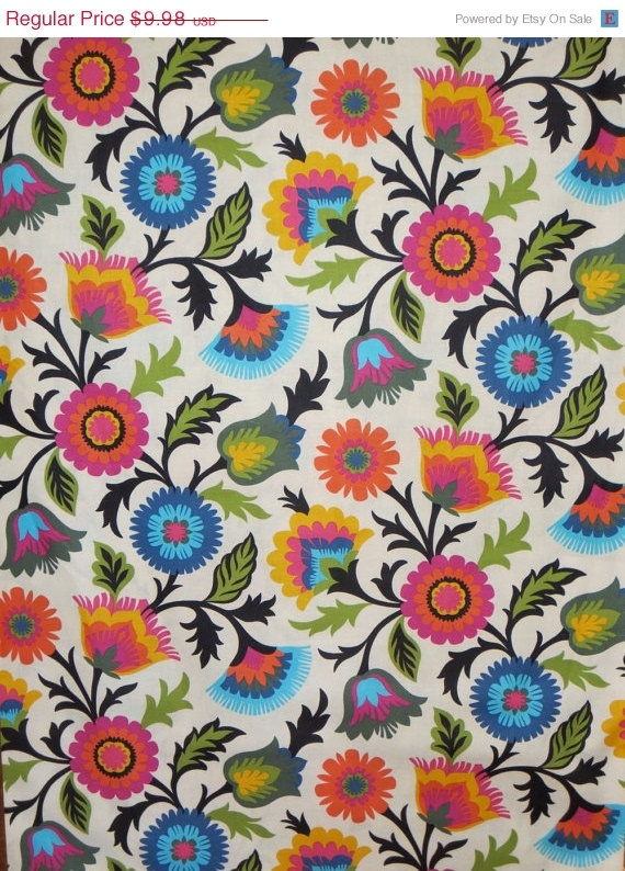 On Sale Colorful Viney Folkloric Print Pure Cotton Fabric from Dear Stella-One Yard