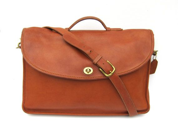 Vintage Coach Messenger Bag // Tan Leather Briefcase by FeelsFree
