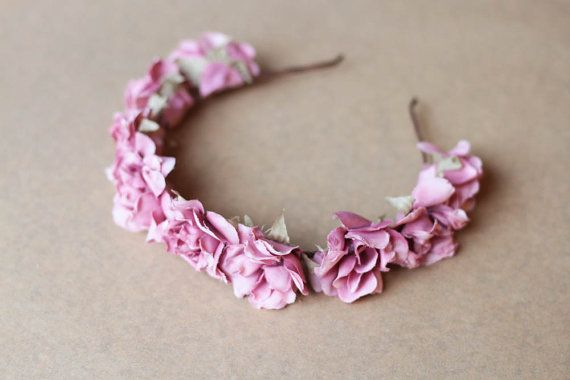 romantic pastel rose headband // pastel pink dainty by kisforkani