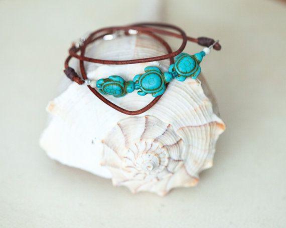 Sea Turtles Bracelet Boho Leather Bracelet by Wildbeautyjewelry