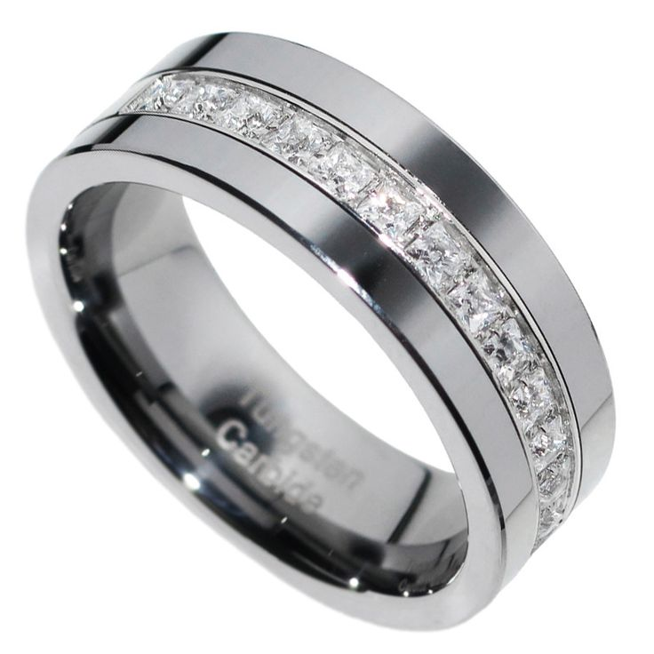 8mm Tungsten Carbide PRINCESS Stone CZ Men Women Wedding Band Ring Size 7 15