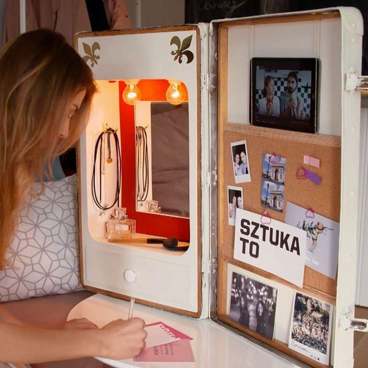 Dressing table made from old suitcase