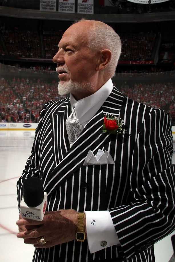 Don Cherry looks on prior to Game One of the 2012 NHL Stanley Cup Final between the Los Angeles Kings and New Jersey Devils at the Prudential Center on May 30, 2012 in Newark, New Jersey