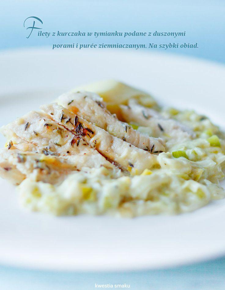 Filety z kurczaka z duszonymi porami