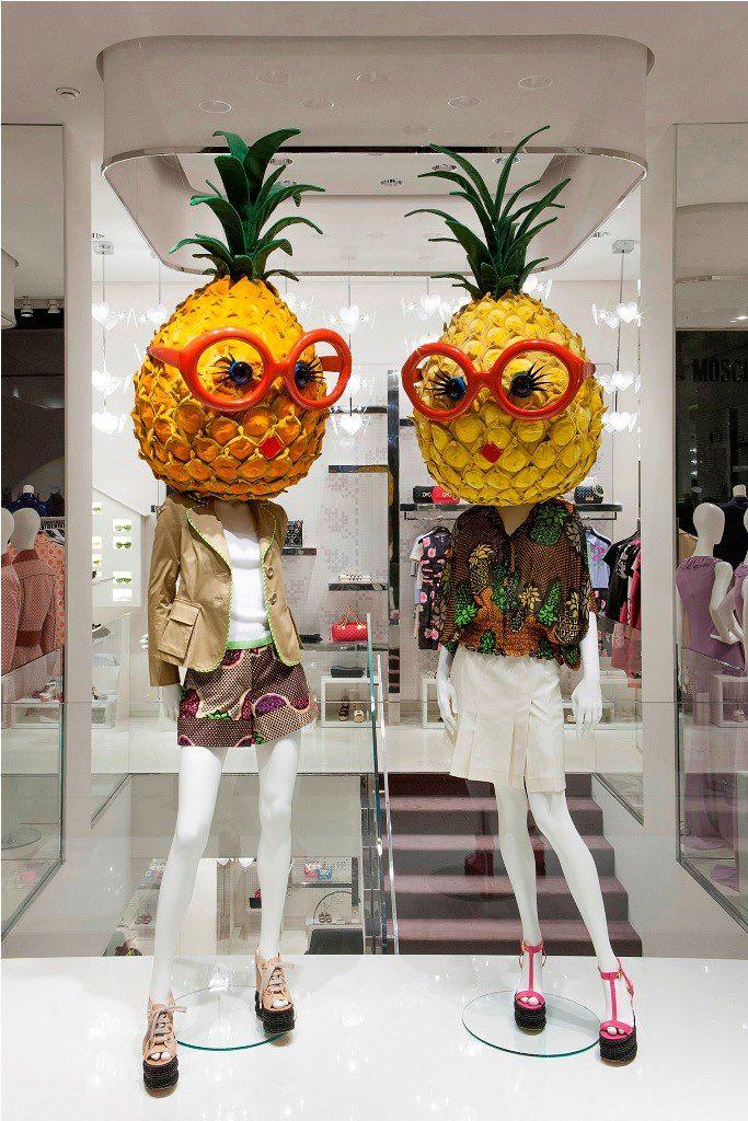 "Hilarious mannequin enhancement. Moschino boutique in Milan, Via della Spiga 30 – February 2013 window display – Theme: ""Pineapples"""