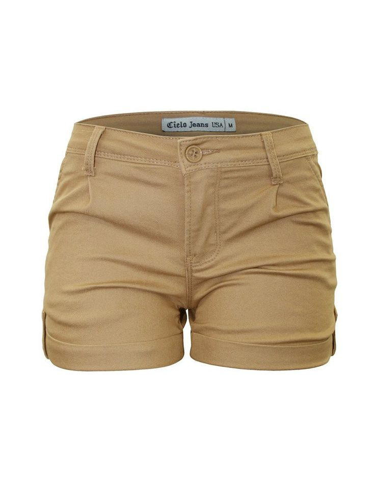 Cielo Women's Color Shorts Button Flap Cuffed Khaki 7086