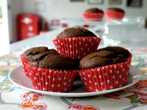 Chocolate Muffins. Sounds super fast and easy for a yummy dessert muffin.