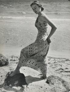 Model on Sandringham Beach, 1950