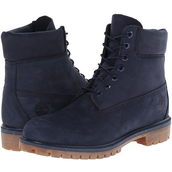 Timberland Classic 6 Premium Boot (Navy Monochrome) Men's Lace-up... ($190) ❤ liked on Polyvore featuring men's fashion, men's shoes, men's boots, mens shoes, mens lace up boots, mens platform shoes, mens boots and mens platform boots