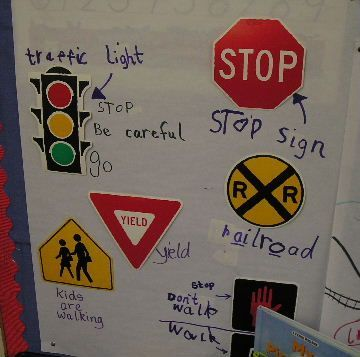 Labeling safety signs and helping children understand what the signs are for can be a great interactive writing topic.