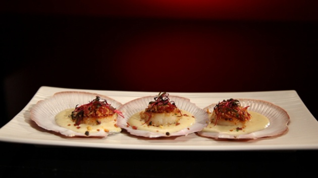 Scallops with roasted Parsnip