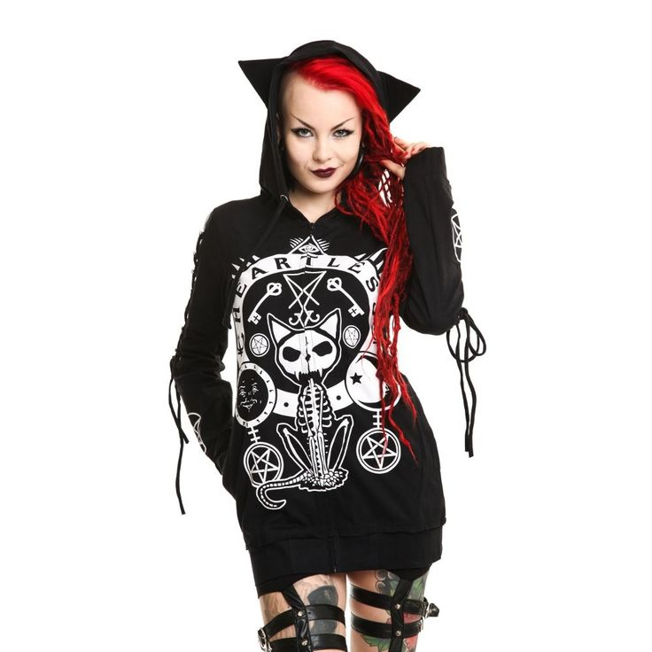 """HEARTLESS """"Occult Kitty"""" hoodie - size XL"""